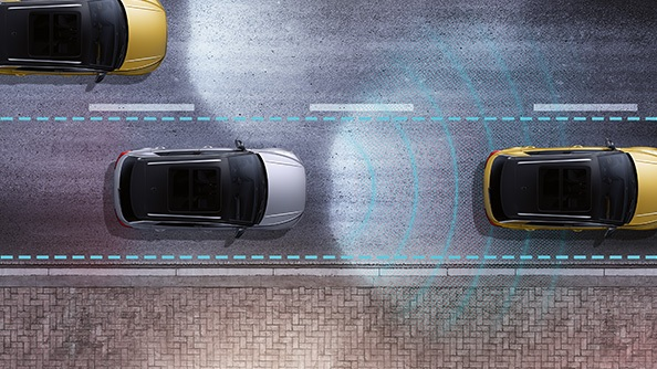 The T-Roc does it all for you. The Adaptive Cruise Control is by far one of the most useful driver assistance systems. You simply specify your maximum speed and the system helps you to adhere to it and not exceed it, within the limits of the system. A minimum distance is also automatically maintained between you and the vehicle in front, within the limits of the system.