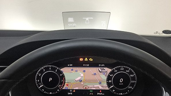Heads-up display. The Head-up Display presents key driving information directly in your field of vision. Speed, assistance systems and navigation directions are pushed directly to the high-quality head-up display on the windscreen.