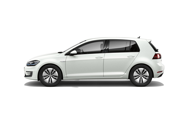 The e-Golf finished in Pure White