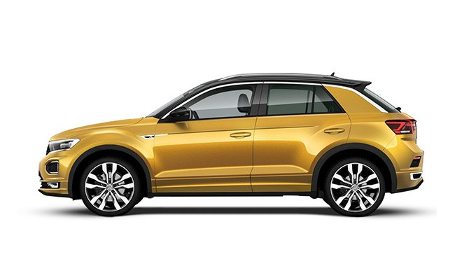 T-Roc R-Line finished in Tumeric Yellow with black roof