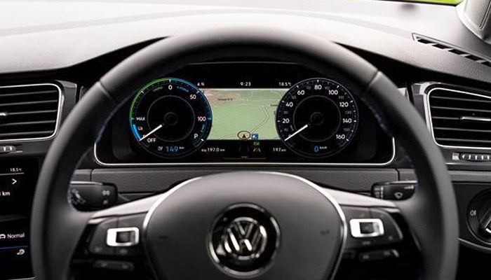 "It's all right in front of your eyes. Taking place of traditional instrumentation behind the steering wheel. This high-definition digital display uses a 12.3"" screen with configurable views. Choose your view from navigation, infotainment, driver assistance and efficiency functions."
