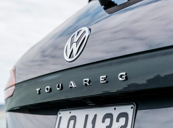 Close up shot of a VW toureg rear badges