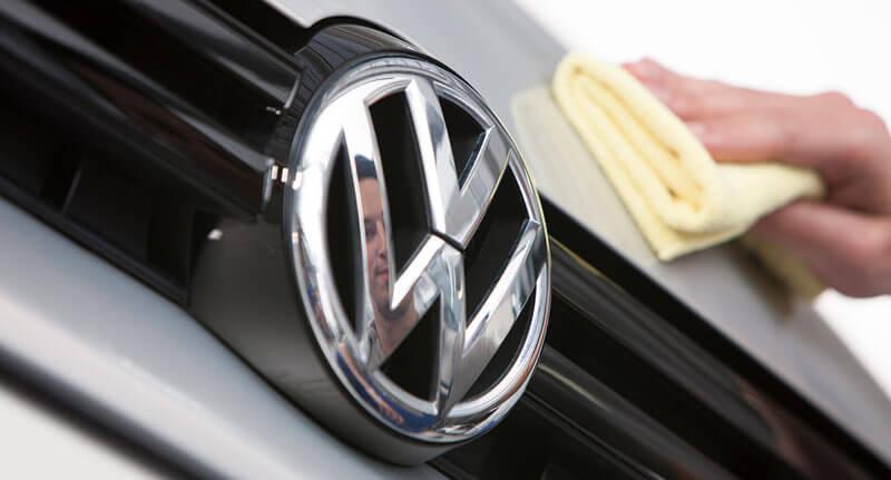 Volkswagen emblem on the front of car