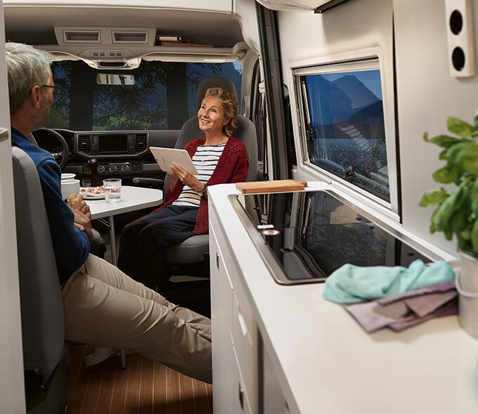 Volkswagen Grand California interior, kitchen & living space