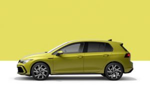 The Golf MK8 side profile finished in Yellow